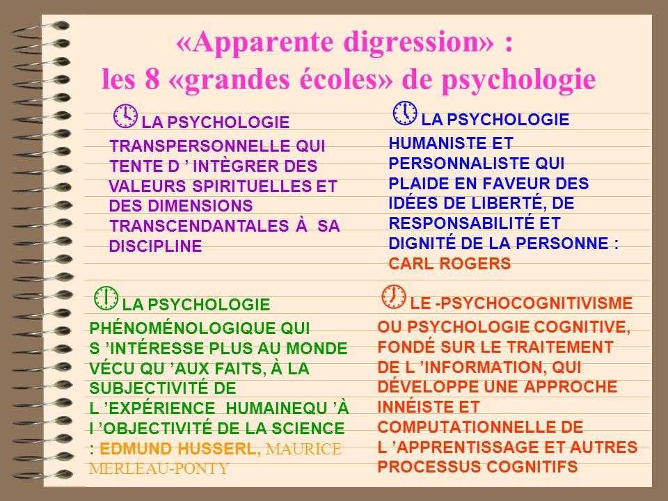 «Apparente digression» : les 8 «grandes écoles» de psychologie LA PSYCHANALYSE ISSUE DES TRAVAUX DE FREUD : S INTÉRESSE AUX DIMENSIONS AFFECTIVES, ÉMO