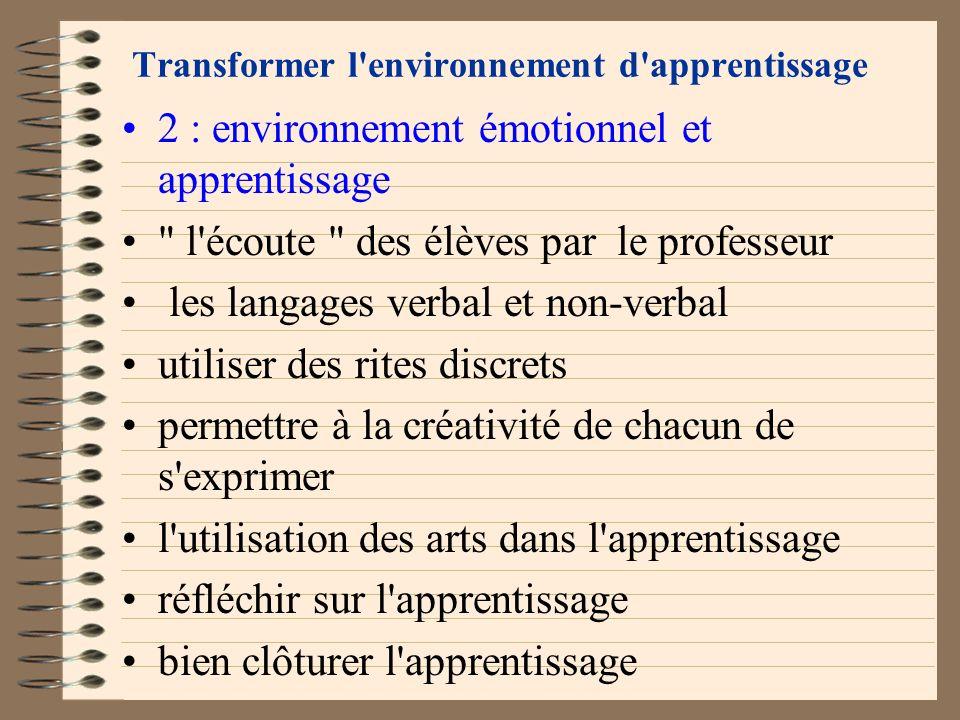 Transformer l'environnement d'apprentissage 2 : environnement émotionnel et apprentissage importance d'introduire émotions et sentiments dans un appre