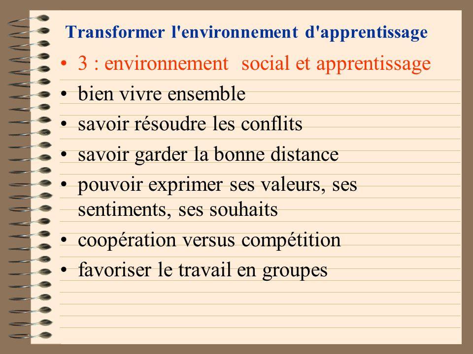 Transformer l'environnement d'apprentissage 2 : environnement émotionnel et apprentissage