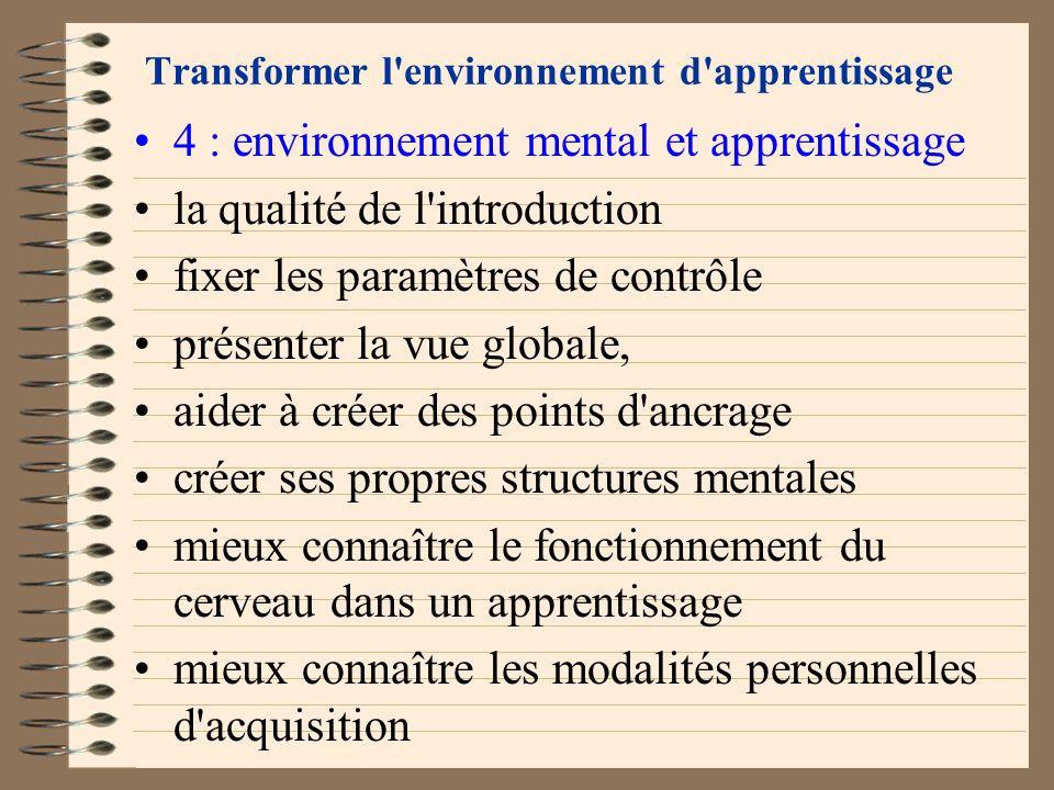 Transformer l'environnement d'apprentissage 3 : environnement social et apprentissage bien vivre ensemble savoir résoudre les conflits savoir garder l