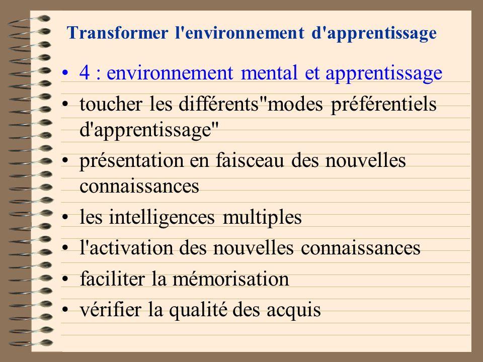 Transformer l'environnement d'apprentissage 4 : environnement mental et apprentissage la qualité de l'introduction fixer les paramètres de contrôle pr