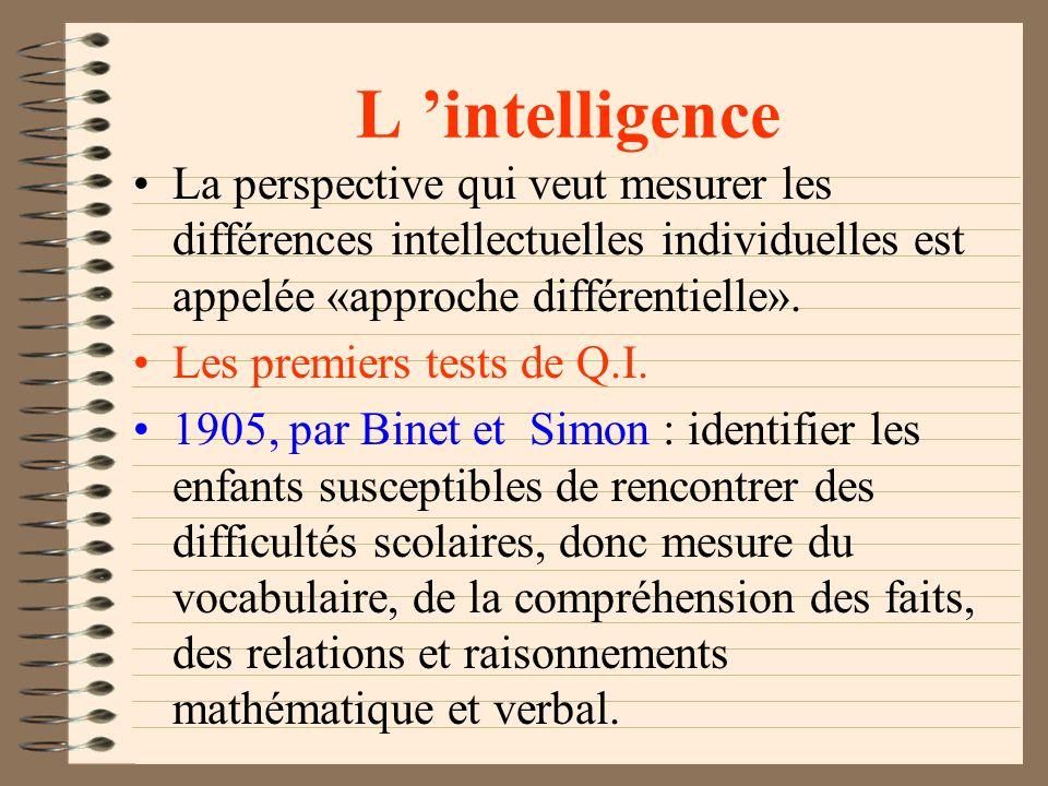 L intelligence L étude de l intelligence s inscrit dans la perspective traditionnelle de la «force» des aptitudes mentales de l individu. Les chercheu