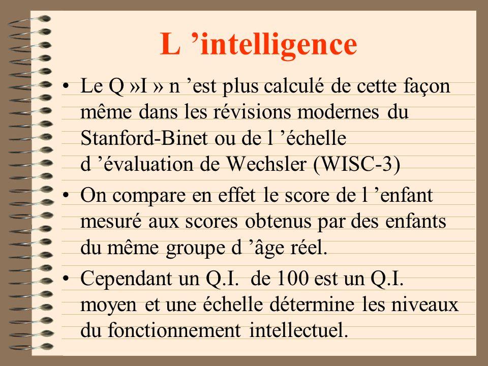 L intelligence Traduit et adapté aux USA par Lewis Terman, de l université Stanford (1916 ), le test est devenu le «Stanford-Binet» la performance de