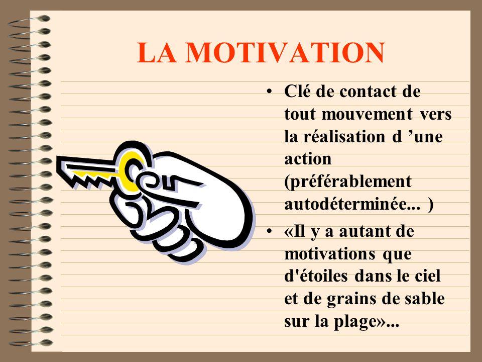 LA MOTIVATION Clé de contact de tout mouvement vers la réalisation d une action (préférablement autodéterminée...