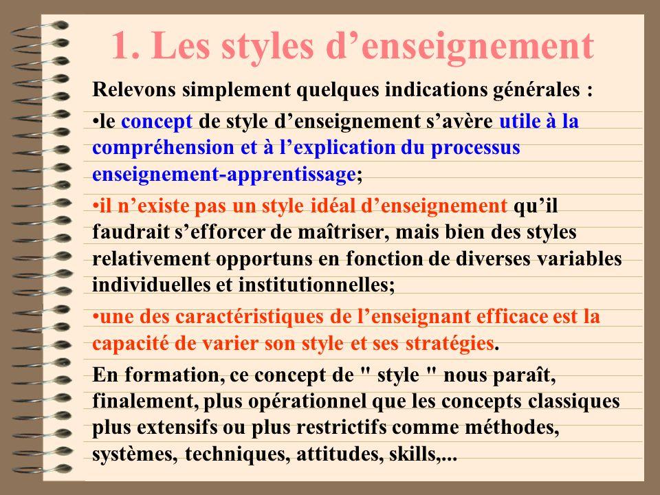 1. Les styles denseignement : un concept opérationnel En éducation, depuis les célèbres expériences de Lewin, Lippit et White (1939) sur les styles de