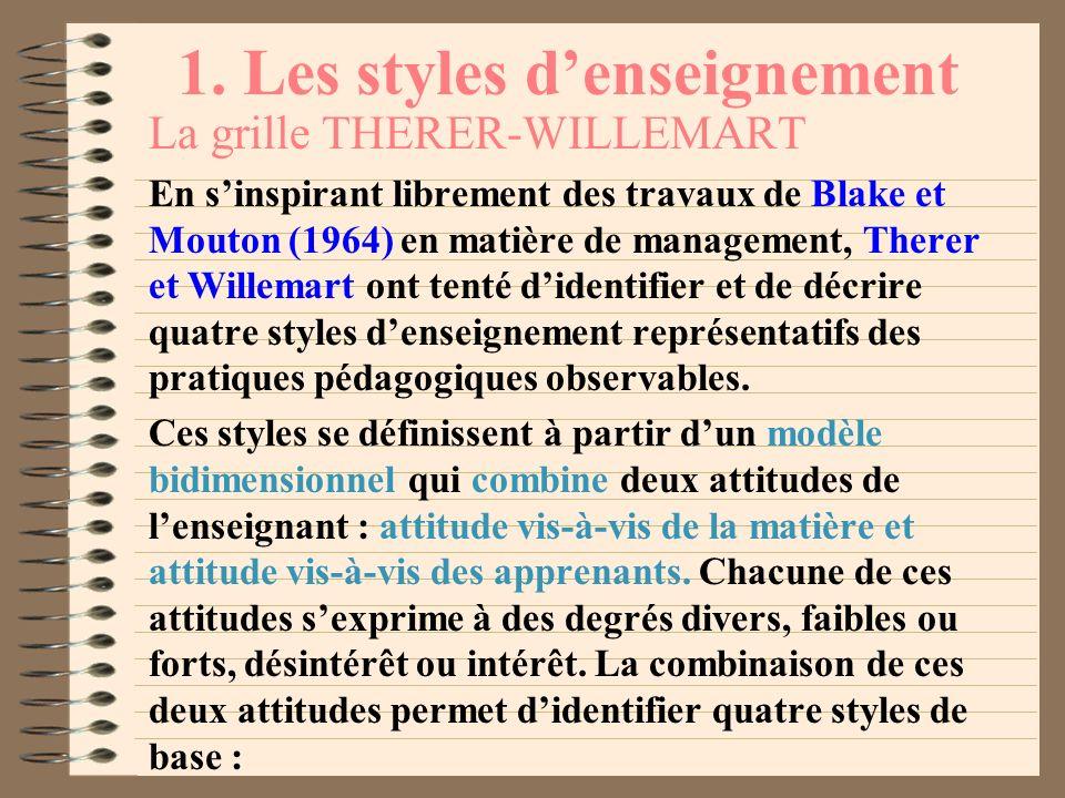 1. Les styles denseignement Pour éviter toute équivoque, nous nous en tiendrons provisoirement aux définitions suivantes : style denseignement, manièr