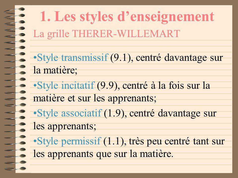1. Les styles denseignement La grille THERER-WILLEMART En sinspirant librement des travaux de Blake et Mouton (1964) en matière de management, Therer