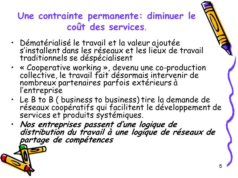 5 Une contrainte permanente: diminuer le coût des services.