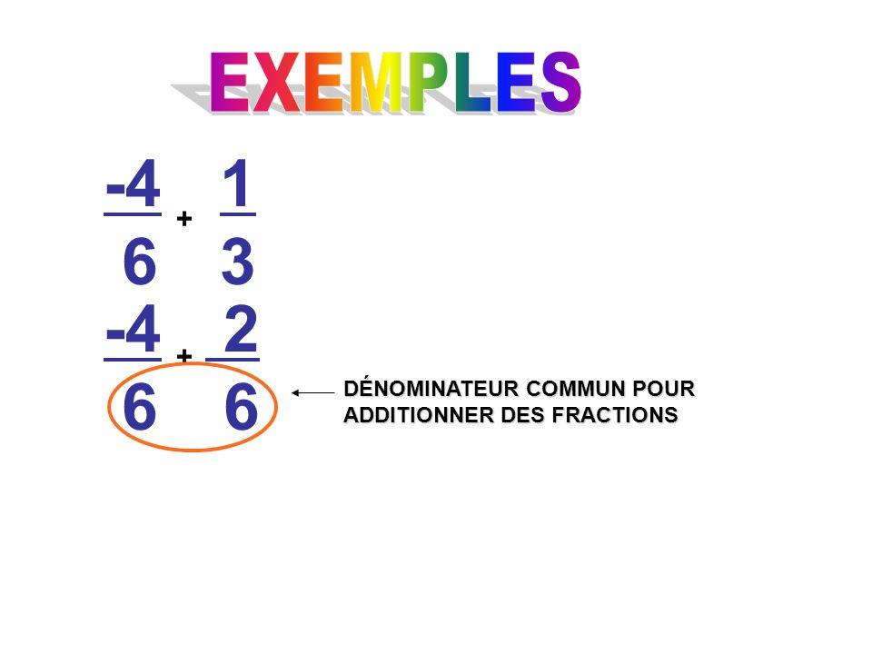 -4 6 + 1313 -4 6 2 6 + DÉNOMINATEUR COMMUN POUR ADDITIONNER DES FRACTIONS