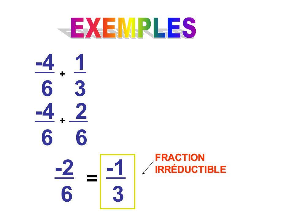 -4 6 + 1313 -4 6 2 6 + -2 6 = 3 FRACTION IRRÉDUCTIBLE
