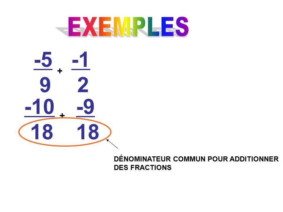 -5 9 + 2 -10 18 -9 18 + DÉNOMINATEUR COMMUN POUR ADDITIONNER DES FRACTIONS