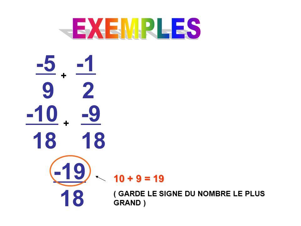 -5 9 + 2 -10 18 -9 18 + -19 18 10 + 9 = 19 ( GARDE LE SIGNE DU NOMBRE LE PLUS GRAND )