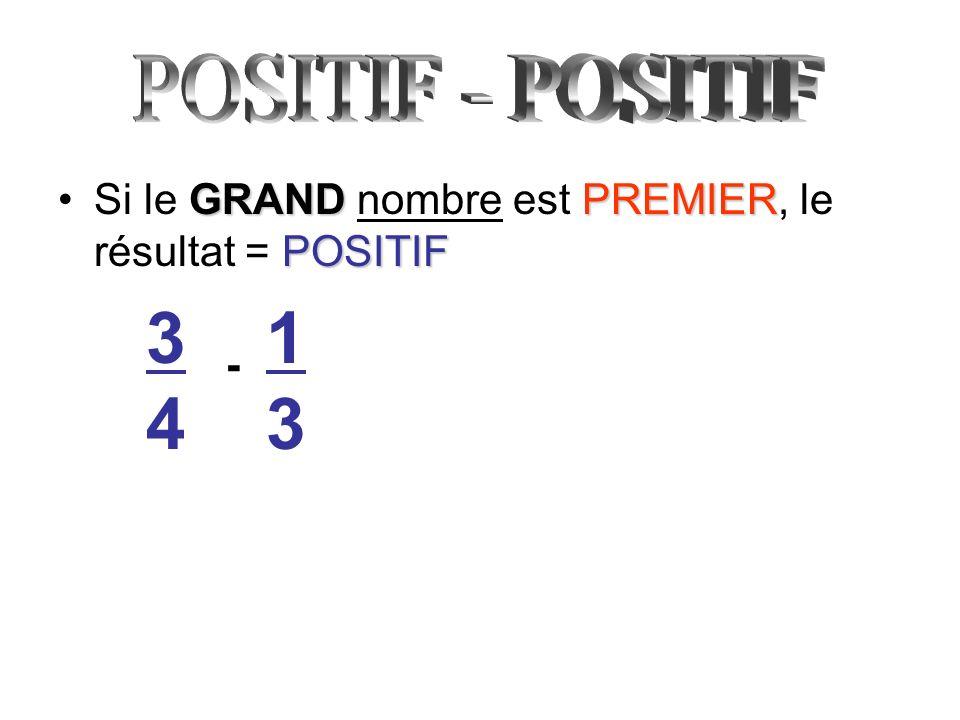 GRANDPREMIER POSITIFSi le GRAND nombre est PREMIER, le résultat = POSITIF 3434 - 1313