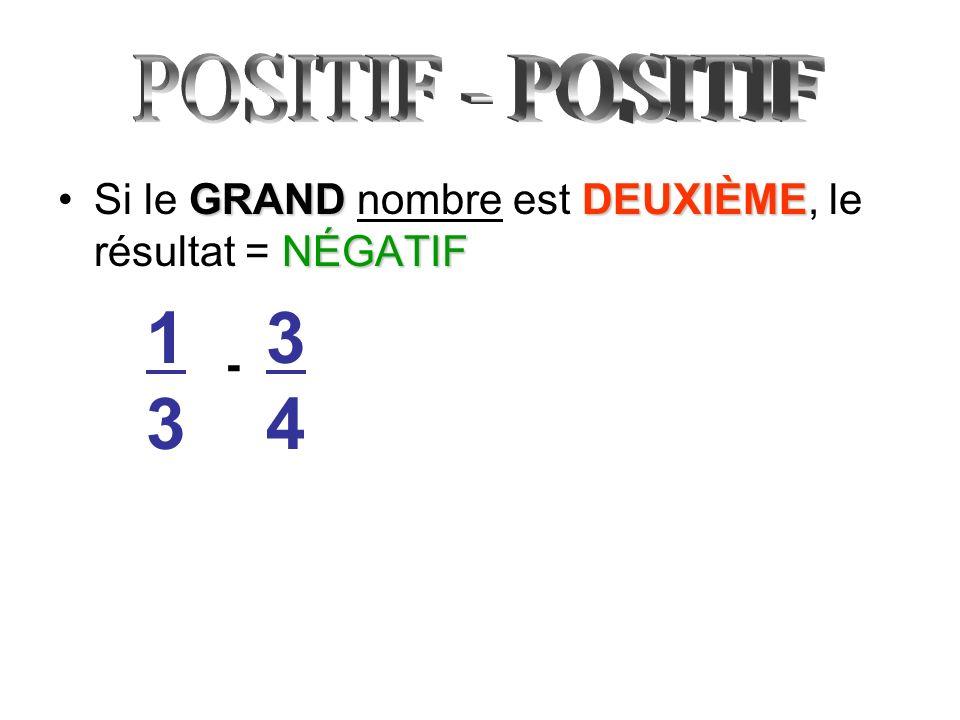 GRANDDEUXIÈME NÉGATIFSi le GRAND nombre est DEUXIÈME, le résultat = NÉGATIF 1313 - 3434