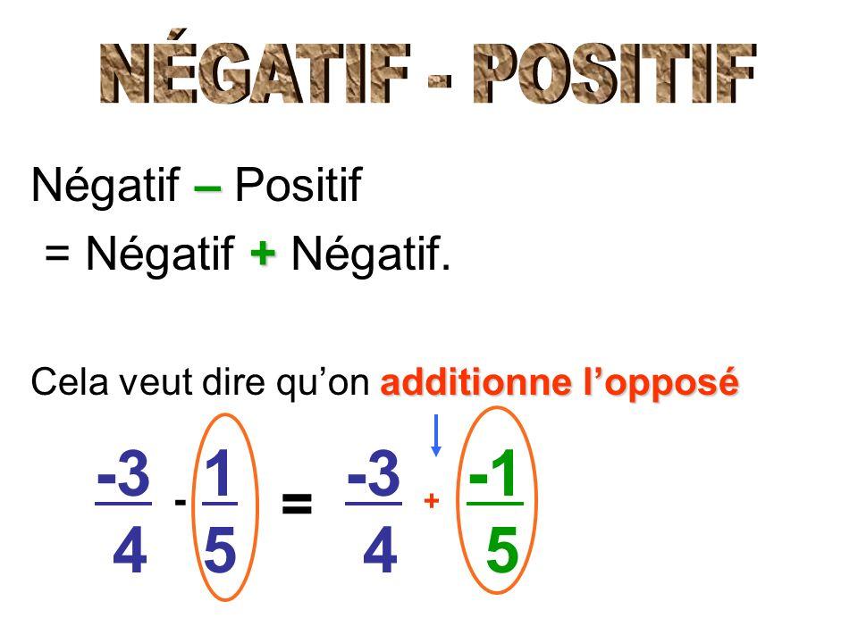 – Négatif – Positif + = Négatif + Négatif. additionne lopposé Cela veut dire quon additionne lopposé -3 4 1515 -3 4 5 = - +