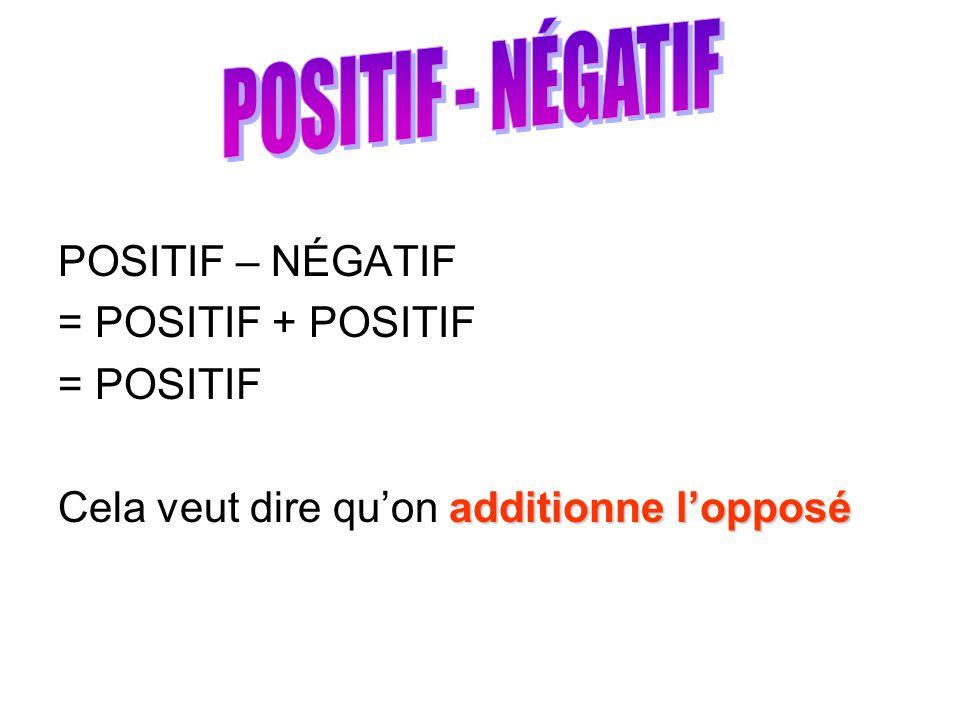 POSITIF – NÉGATIF = POSITIF + POSITIF = POSITIF additionne lopposé Cela veut dire quon additionne lopposé