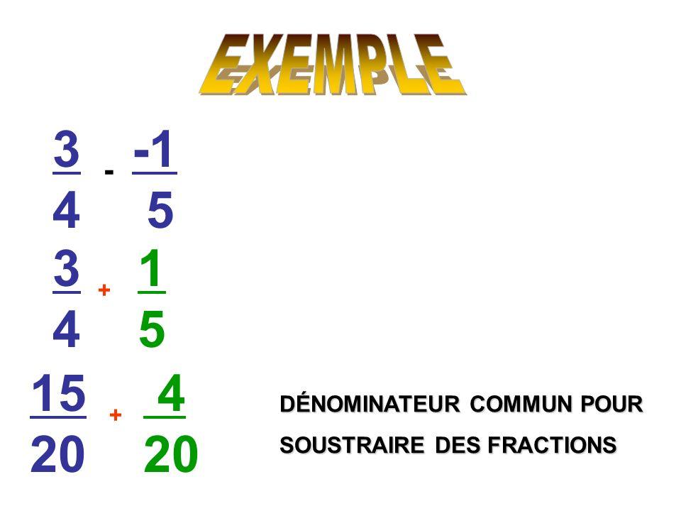 3434 5 - 3434 1515 + 15 20 4 20 + DÉNOMINATEUR COMMUN POUR SOUSTRAIRE DES FRACTIONS