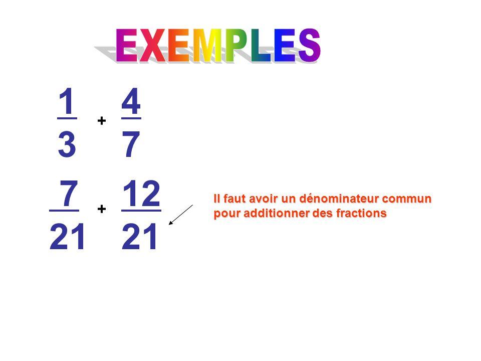 1313 + 4747 7 21 + 12 21 Il faut avoir un dénominateur commun pour additionner des fractions