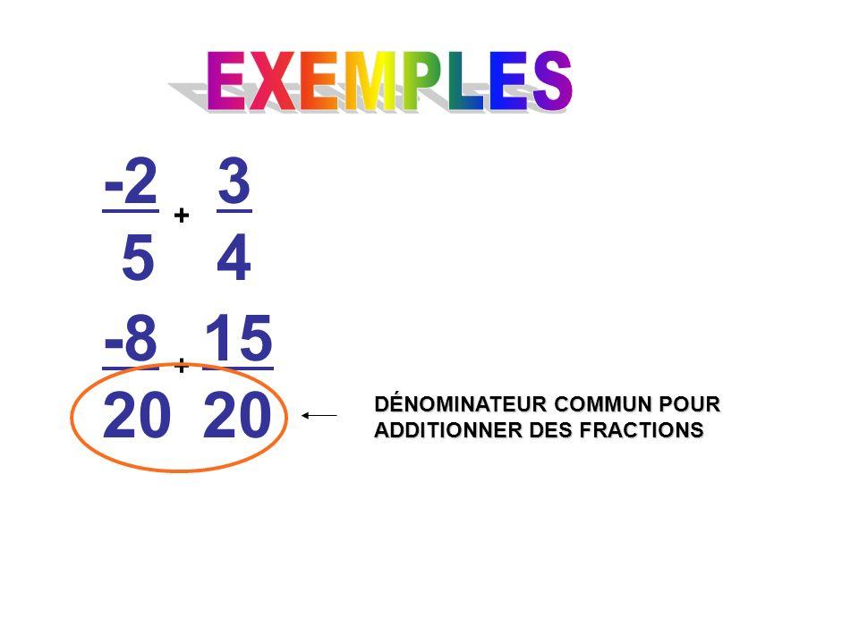 -2 5 + 3434 -8 20 15 20 + DÉNOMINATEUR COMMUN POUR ADDITIONNER DES FRACTIONS