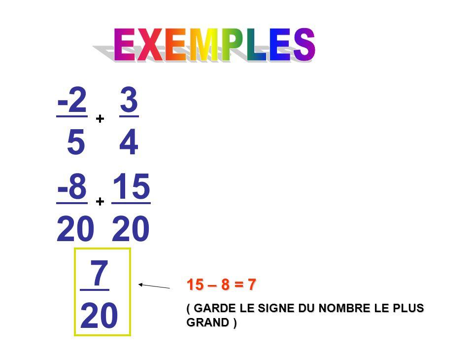 -2 5 + 3434 -8 20 15 20 + 7 20 15 – 8 = 7 ( GARDE LE SIGNE DU NOMBRE LE PLUS GRAND )