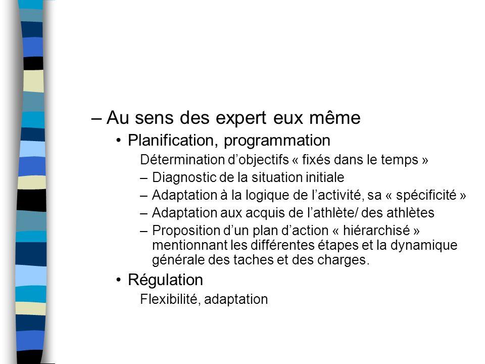 –Au sens des expert eux même Planification, programmation Détermination dobjectifs « fixés dans le temps » –Diagnostic de la situation initiale –Adapt