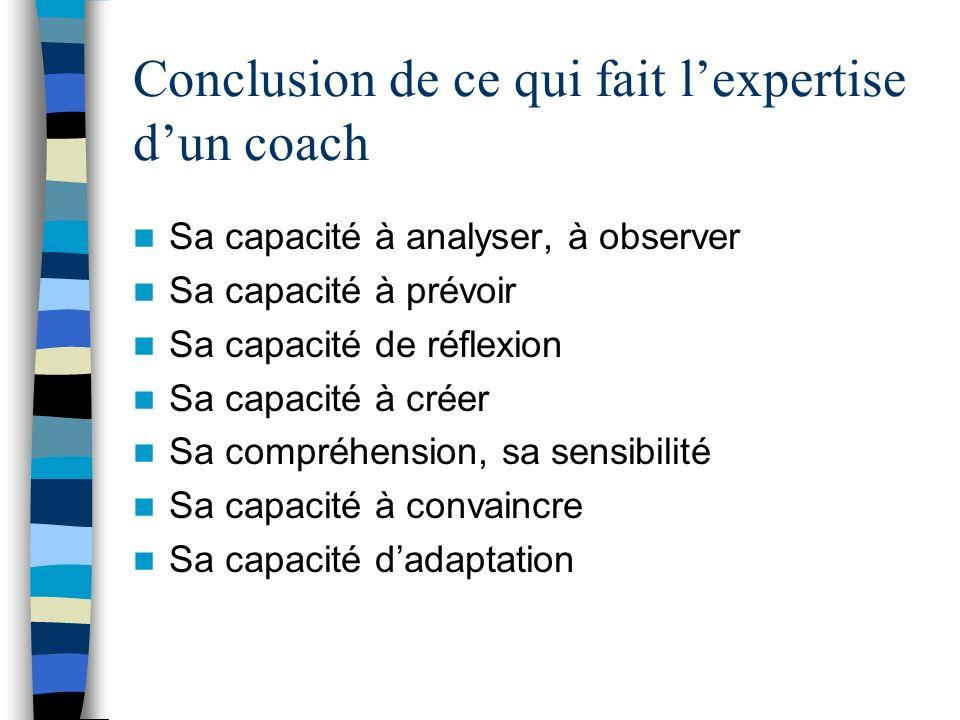 Conclusion de ce qui fait lexpertise dun coach Sa capacité à analyser, à observer Sa capacité à prévoir Sa capacité de réflexion Sa capacité à créer S