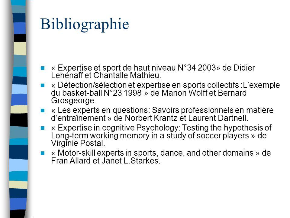 Bibliographie « Expertise et sport de haut niveau N°34 2003» de Didier Lehénaff et Chantalle Mathieu. « Détection/sélection et expertise en sports col