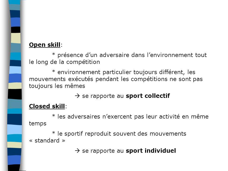 Open skill: * présence dun adversaire dans lenvironnement tout le long de la compétition * environnement particulier toujours différent, les mouvement