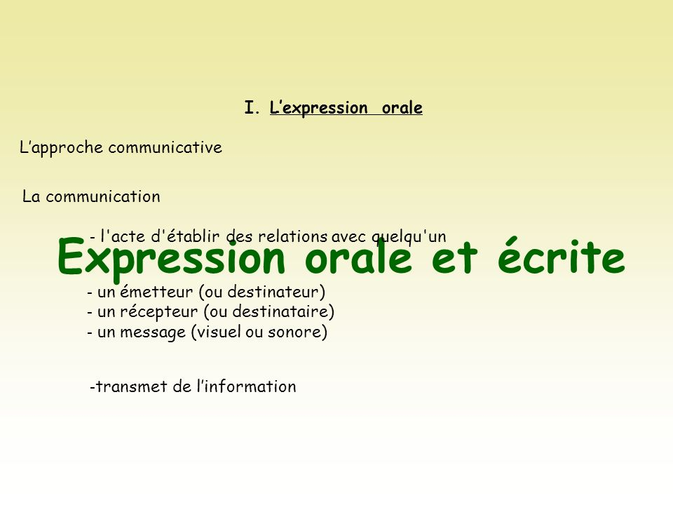 Expression orale et écrite I.Lexpression orale Lapproche communicative La communication - l'acte d'établir des relations avec quelqu'un - un émetteur