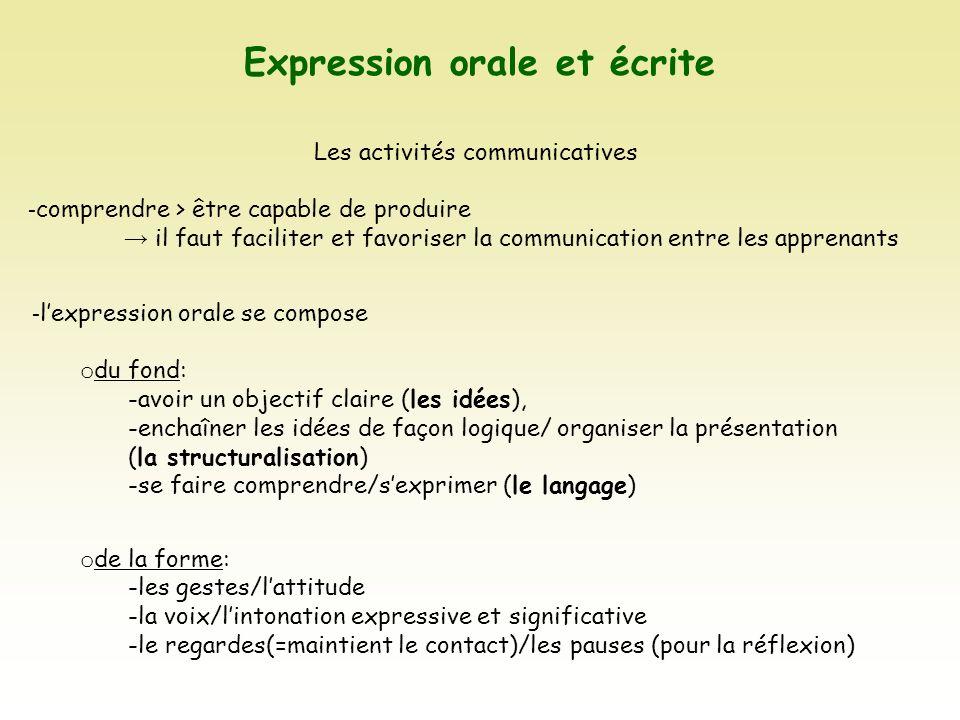 Expression orale et écrite Les activités communicatives - comprendre > être capable de produire il faut faciliter et favoriser la communication entre