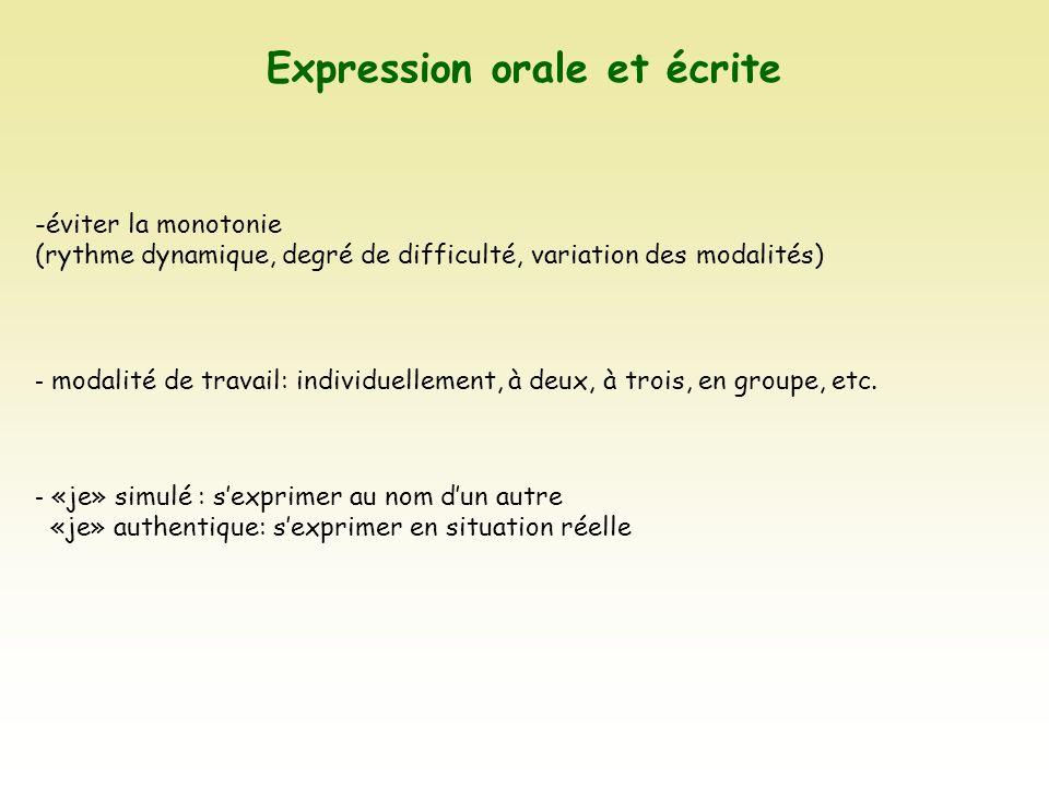 Expression orale et écrite -éviter la monotonie (rythme dynamique, degré de difficulté, variation des modalités) - modalité de travail: individuelleme