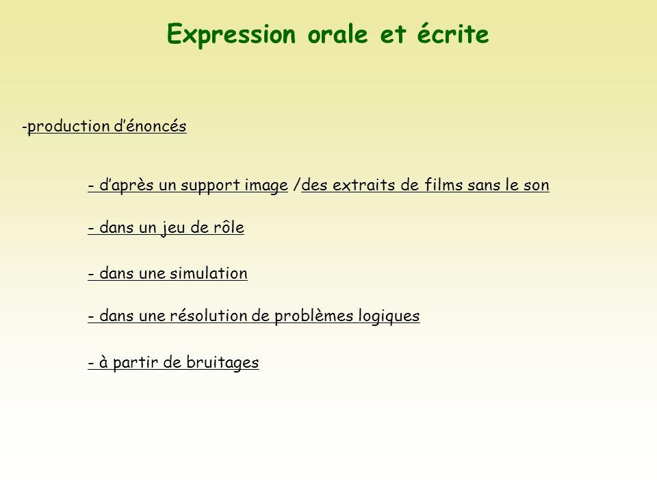 Expression orale et écrite - production dénoncés - daprès un support image /des extraits de films sans le son - dans un jeu de rôle - dans une simulat