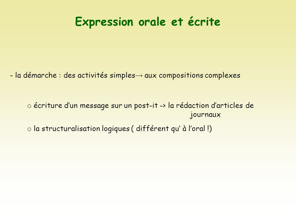 Expression orale et écrite - la démarche : des activités simples aux compositions complexes o écriture dun message sur un post-it -> la rédaction dart