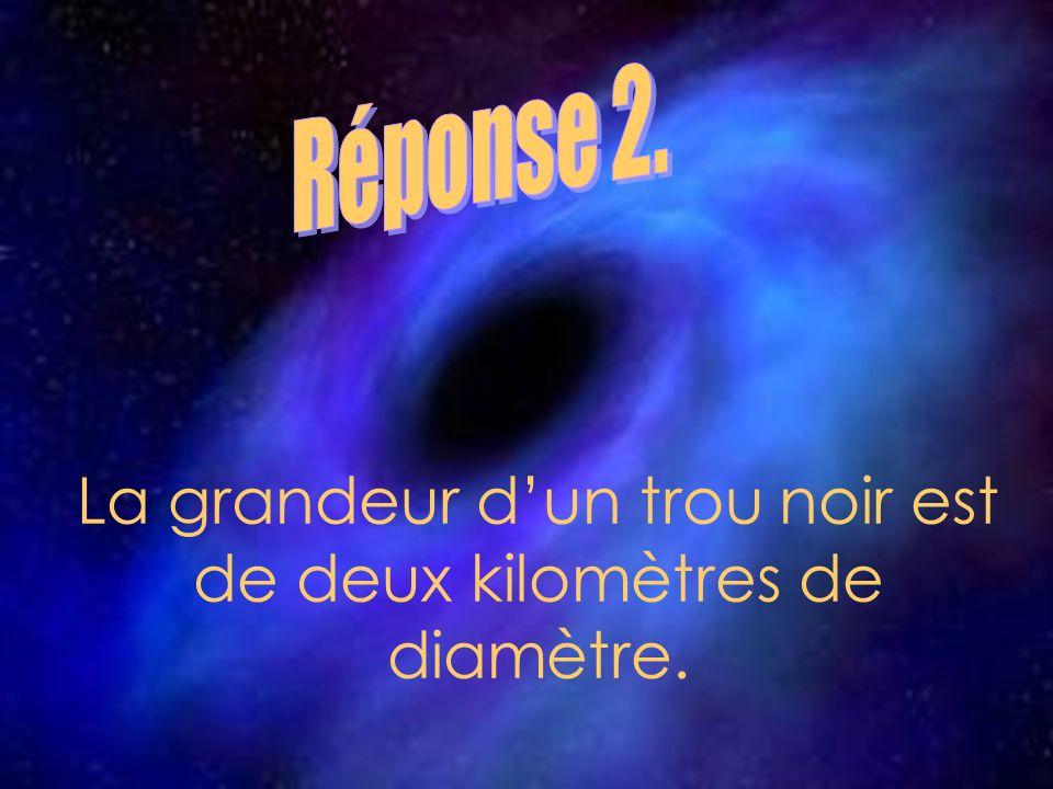 La grandeur dun trou noir est de deux kilomètres de diamètre.