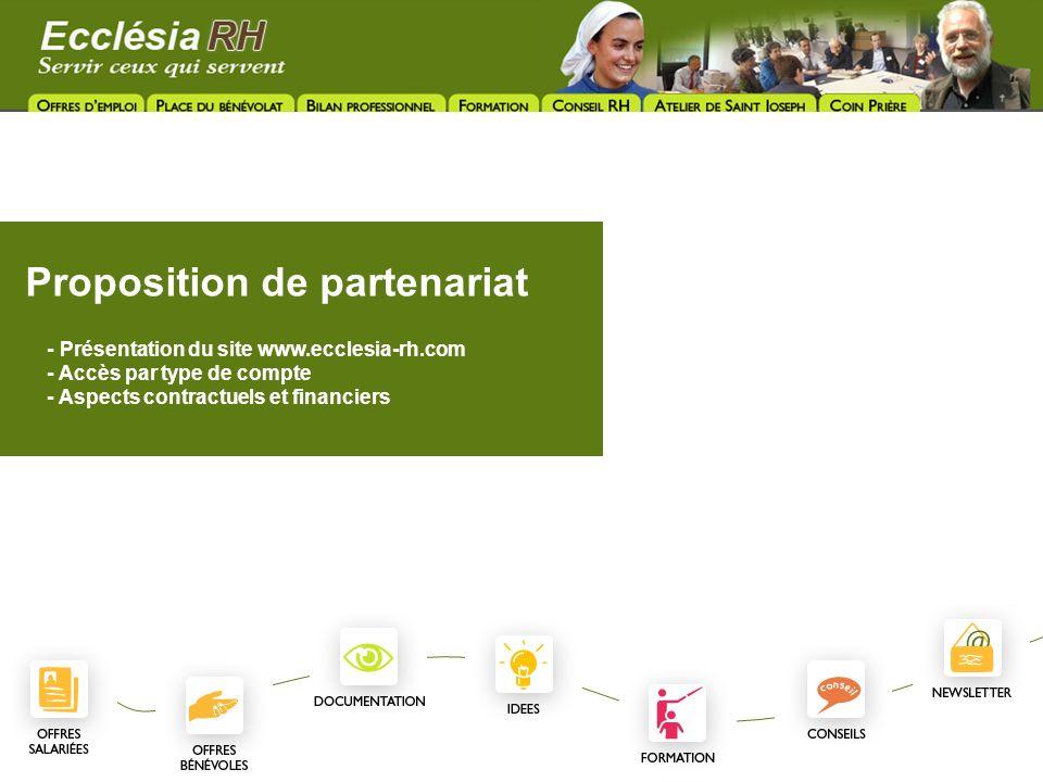 Proposition de partenariat - Présentation du site www.ecclesia-rh.com - Accès par type de compte - Aspects contractuels et financiers