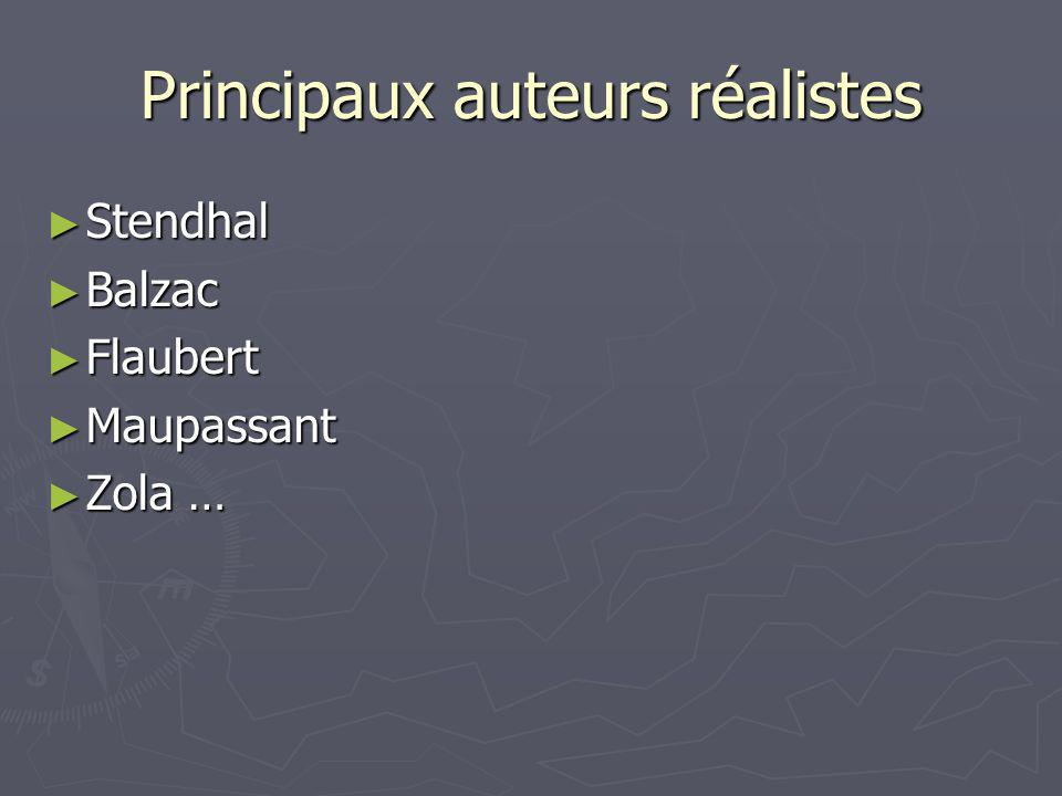 Principaux auteurs réalistes Stendhal Stendhal Balzac Balzac Flaubert Flaubert Maupassant Maupassant Zola … Zola …