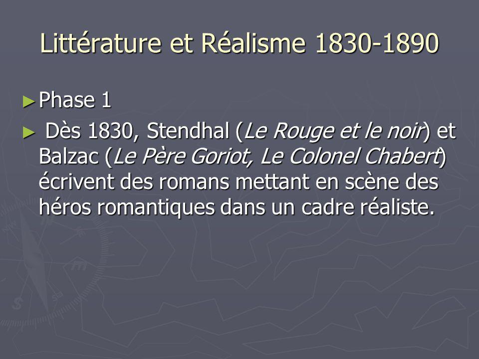 Littérature et Réalisme 1830-1890 Phase 1 Phase 1 Dès 1830, Stendhal (Le Rouge et le noir) et Balzac (Le Père Goriot, Le Colonel Chabert) écrivent des