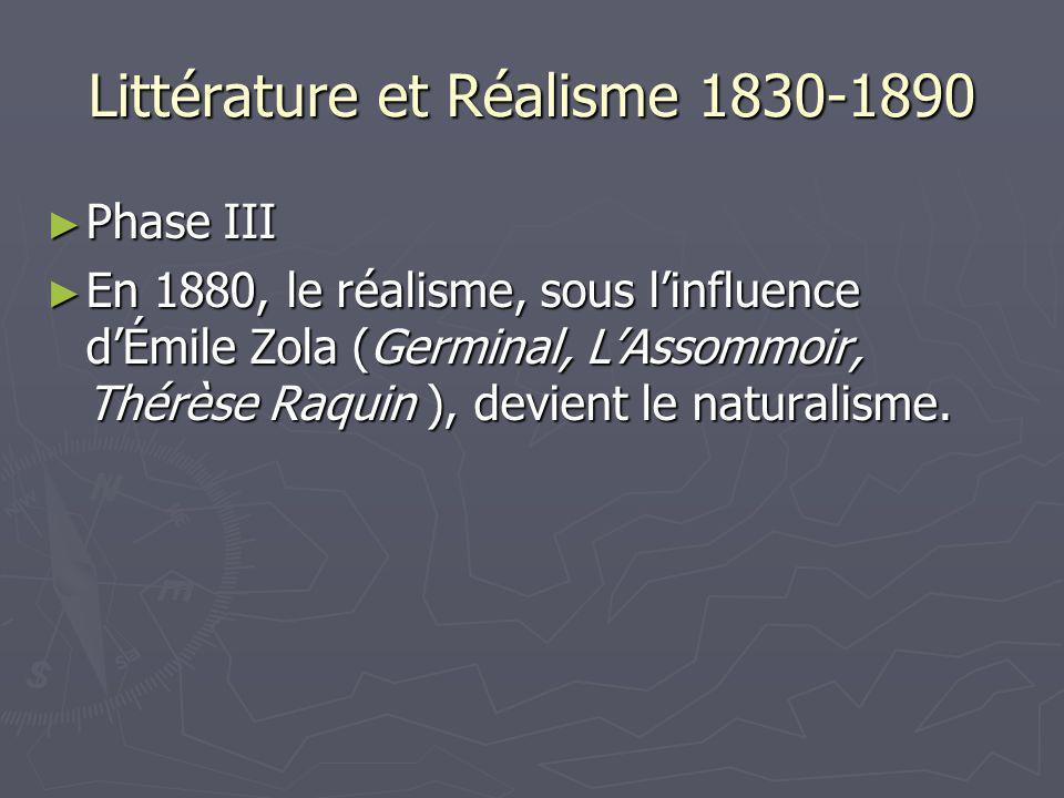 Littérature et Réalisme 1830-1890 Phase III Phase III En 1880, le réalisme, sous linfluence dÉmile Zola (Germinal, LAssommoir, Thérèse Raquin ), devie