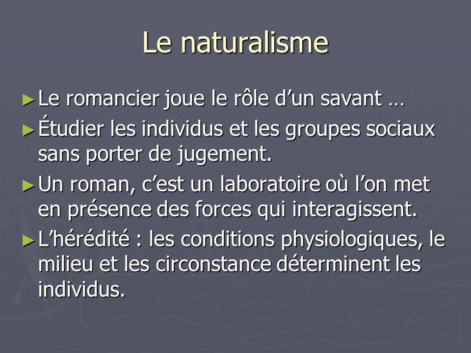 Le naturalisme Le romancier joue le rôle dun savant … Le romancier joue le rôle dun savant … Étudier les individus et les groupes sociaux sans porter