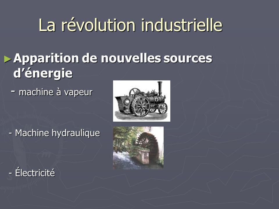 La révolution industrielle Apparition de nouvelles sources dénergie Apparition de nouvelles sources dénergie - machine à vapeur - machine à vapeur - M