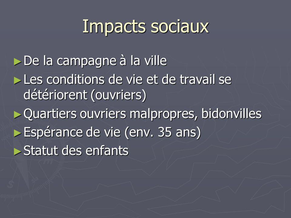 Impacts sociaux De la campagne à la ville De la campagne à la ville Les conditions de vie et de travail se détériorent (ouvriers) Les conditions de vi