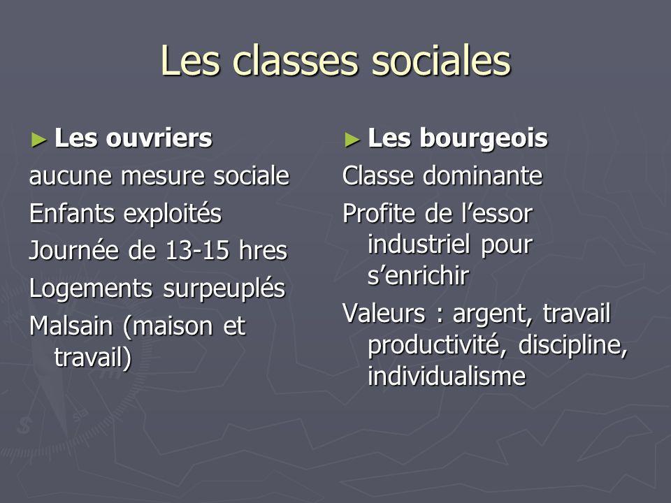 Les classes sociales Les ouvriers Les ouvriers aucune mesure sociale Enfants exploités Journée de 13-15 hres Logements surpeuplés Malsain (maison et t