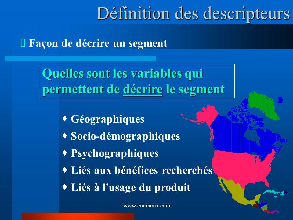 www.coursmix.com Définition des descripteurs Façon de décrire un segment Quelles sont les variables qui permettent de décrire le segment Géographiques