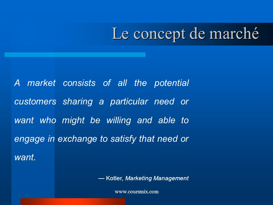 www.coursmix.com Le concept de marché A market consists of all the potential customers sharing a particular need or want who might be willing and able