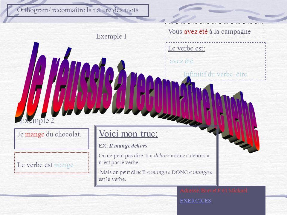 Objectif: Orthogram DESCRIPTIF : Reconnaître la nature des mots Référentiel page BREVET F EXERCICES du Professeur EXERCICES élèves 1– 2 –3 –4 – 5- 6-