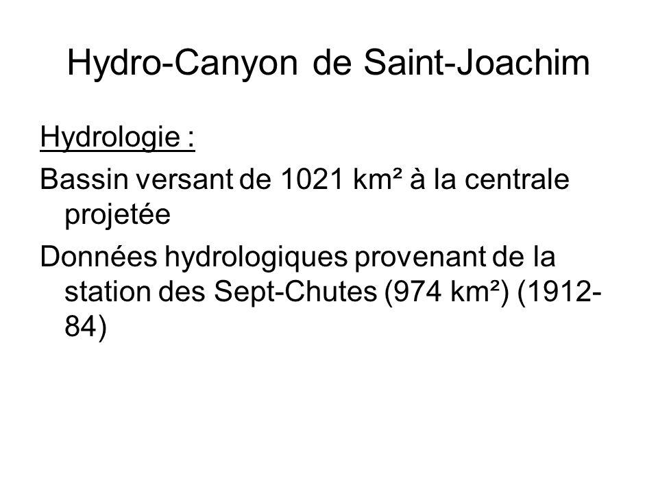 Hydro-Canyon de Saint-Joachim Hydrologie : Bassin versant de 1021 km² à la centrale projetée Données hydrologiques provenant de la station des Sept-Ch