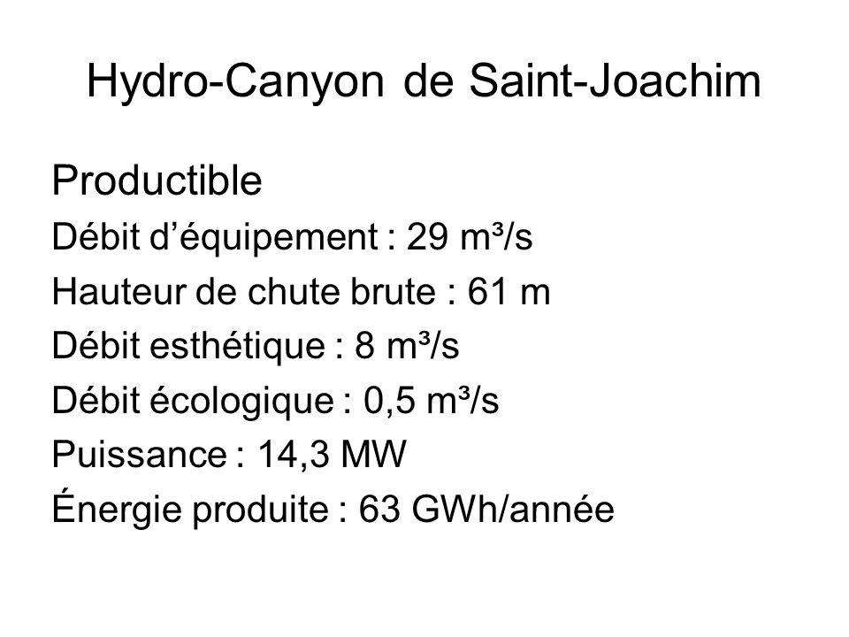Hydro-Canyon de Saint-Joachim Productible Débit déquipement : 29 m³/s Hauteur de chute brute : 61 m Débit esthétique : 8 m³/s Débit écologique : 0,5 m³/s Puissance : 14,3 MW Énergie produite : 63 GWh/année