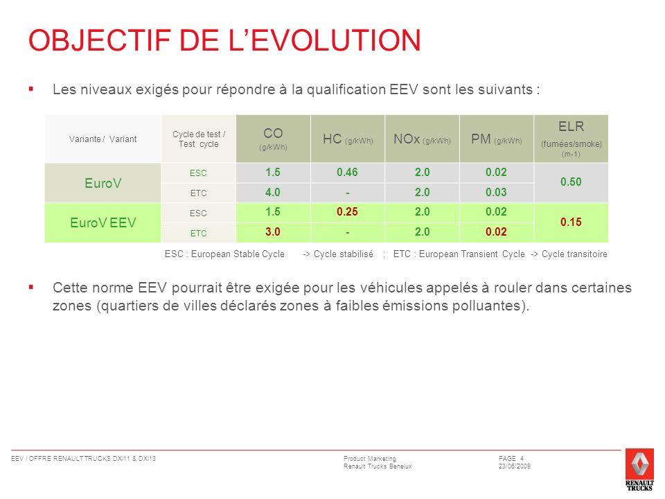 Product Marketing Renault Trucks Benelux EEV / OFFRE RENAULT TRUCKS DXi11 & DXi13PAGE 4 23/06/2009 Les niveaux exigés pour répondre à la qualification