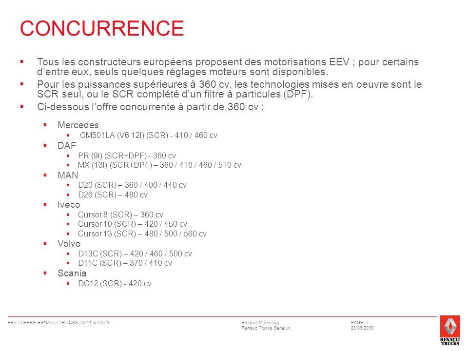 Product Marketing Renault Trucks Benelux EEV / OFFRE RENAULT TRUCKS DXi11 & DXi13PAGE 7 23/06/2009 CONCURRENCE Tous les constructeurs européens propos