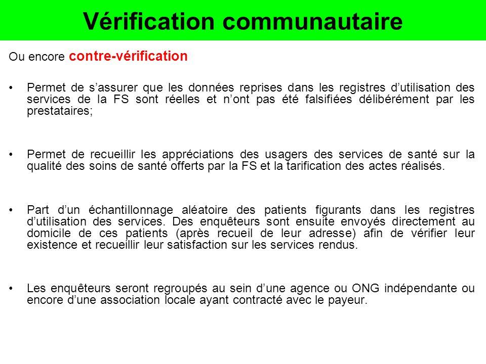 Vérification communautaire Ou encore contre-vérification Permet de sassurer que les données reprises dans les registres dutilisation des services de l